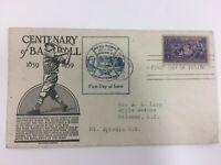RARE Vintage 1939 Centenary Baseball Envelope Cachet &Stamp 1st Day of Issue