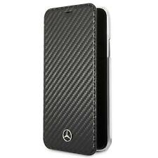 Mercedes Book Case Samsung S9 G960 Cover Tasche Handyhülle schwarz Carbon Look