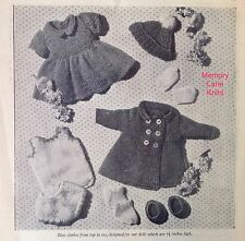 "Top to Toe Set Doll Clothes Vintage Knitting PATTERN 7.5"" Mitts Coat Dress...A3"