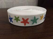 """1m White Glitter Star Print 7/8"""" Grosgrain Ribbon"""