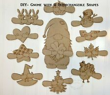 DIY Gnome Interchangeable Wood shapes/ unfinished/ gnome sign/ interchangeable p