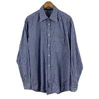 Zegna Sport Mens Button Up Shirt Size Large Blue White Stripe Long Sleeve