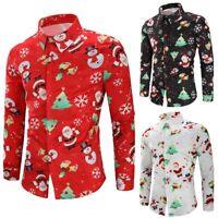 Men's Christmas Printing Shirt Autumn Long Sleeve Slim Fit T-shirt Casual Tops