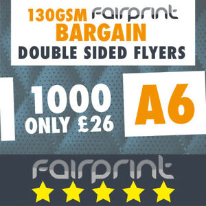 1000 A6 Flyers Leaflets Printed 130gsm Gloss