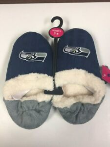 Seattle Seahawks Womens Team Color Knit  Moccasin Slippers