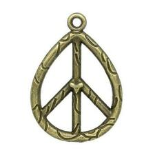 Peace Sign Charm/Pendant Tibetan Steampunk Antique Bronze 36mm  3 Charms Crafts