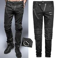 Pantalon jeans gothique punk steampunk délavé vintage armure mode PunkRave Homme