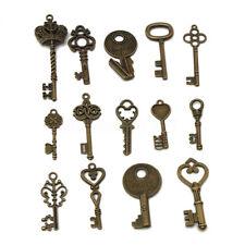 14 Assorted Antique Vintage Old Look Large Skeleton Bronze Keys Pendants Set