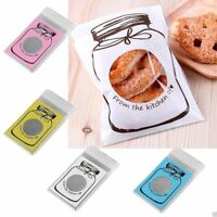 100Pcs Plastic Transparent Cellophane Candy Cookie Gift Bag Self Adhesive Pouch
