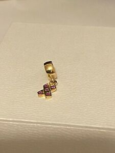 Pandora 14ct Gold Breast Cancer Pink Sapphire Ribbon Charm
