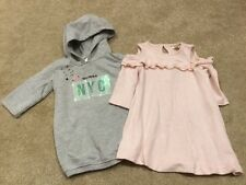 2 River Island Mini Baby Girls Dresses Grey Hooded Pink Knitted Age 6-9 Months