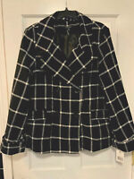 Larry Levine Womens XL Double Breasted Peacoat Black/White Check Windowpane NEW