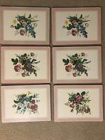 Vintage PIMPERNEL 11.5 x 15.5 Spring Garden Floral Placemats Cork Back
