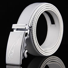 Fashion Mens White Leather Belts  Automatic Buckle Waistband Strap Wedding Golf