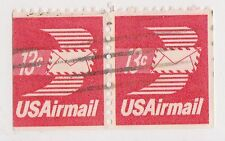 (UST-319) 1971 USA 13c winged letter pair Air mail (AM)