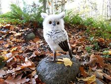 Plush Furry Feather Grey White & Brown Owl Tabletop Figurine 12""