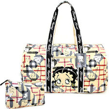 """Betty Boop Quilted Duffle Travel Bag Diaper Gym Bag-Betty Brown Checkered 21"""" XL"""