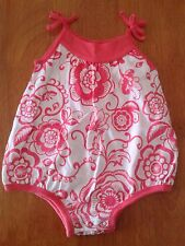 Old Navy Baby Girls 3-6M Coral White Floral Bubble spring Summer NWT