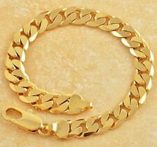Handsome 9K Yellow Gold Filled Curb Cuban Mens Wrist Bracelet Width 9MM,Z1282