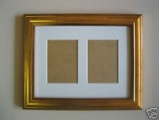 Gold wooden ACEO card double photo / picture frame 3.5 x 2.5 WHITE MOUNT