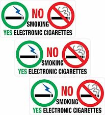 3 x NO Smoking YES Electronic Sticker Printed Vinyl Label Taxi Shop