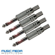 4x 6.35mm 1/4 inch METAL Mono Jack Plug & Strain Relief Solder type Mixer DJ