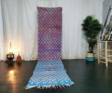 Moroccan Vintage Handmade Runner Rug 2'6x10'7 Checkered Blue Red Berber Wool Rug