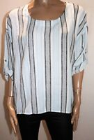 QED LONDON Brand Blue Navy Striped 3/4 Sleeve Blouse Top Size M BNWT #RA14