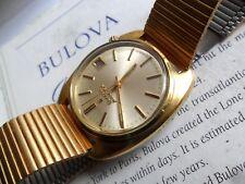 Clean Vintage 1968 Men's Bulova Accutron 218 Tuning Fork Gold Tone Watch