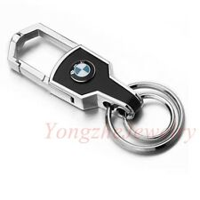 Fashion Men Double Ring Car Logo Metal Leather Key chain Holder For BMW