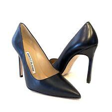 MANOLO BLAHNIK Womens BB Black Leather Point Toe Pump Heels 34.5 (MSRP $665)