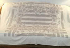 """VINTAGE TABLECLOTH WHITE WITH GREY GERBER DAISYS 60"""" X 78"""""""