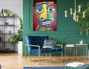 """A.Z. Davis Large 40"""" x 30"""" Original Painting Modern Abstract Pop Art Cubism Man"""