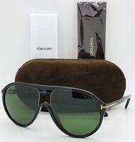 New Tom Ford Edison sunglasses TF0443 01N 59mm Aviator Black Grey Green TF 443