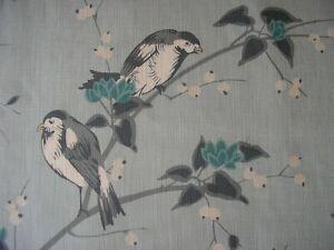 Chivasso Curtain Fabric BIRD GARDEN  3.6 metres Blue CH2669/050