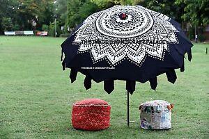 Ombre Mandala Black Umbrella Garden Parasol Steel Pole UV Protection Sun Shade