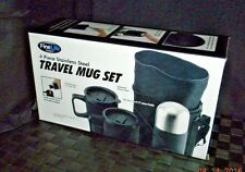 FineLife Products 4 Piece Stainless Steel Travel Mug Set w/ Tote - Black