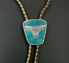 Bolo Tie Sterling 925 Turquoise Inlay Mexican Bull Cow Slide Vintage Silver Ends