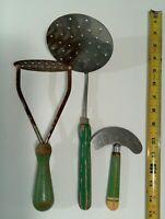 Lot 3 Vintage Green Wood handle Kitchen Utensils 1930-50s Chopper Masher Server