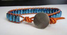 Men's / Unisex Blue Metaalic Magnetic Sports Surf Orange Leather Bracelet