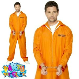 Escaped Prisoner Costume Convict Inmate Mens Womens Adults Fancy Dress Outfit