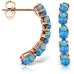 14K Solid Rose Gold Natural Blue Topaz Gemstone Elegant Stud Earringss