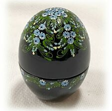 Vintage Papier-Maché Lacquer Egg Shaped Trinket Box Delicate Hand Painted Floral