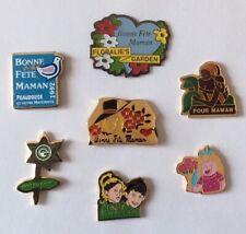 Lot 7 Pin's FETE des MERES Mother's Day Floralie's Coeur Heart Chapeau Kids
