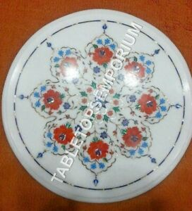 "18"" White Marble Center Table Top Carnelian Turquoise Multi Inlay Decor E1052"