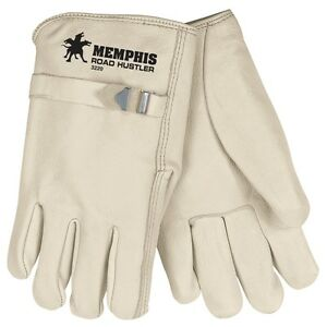 MCR Safety 3220 Road Hustler Grain Cowhide Leather Drivers Gloves W/Pull Strap