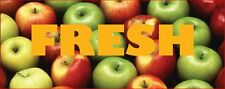 Fresh Apples Banner Digital printing 3' x10' Heavy Duty 13 OZ.  Reg. $89.95