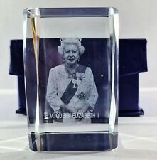 More details for vintage dartington crystal hm queen elizabeth 2 ii crystal glass paperweight