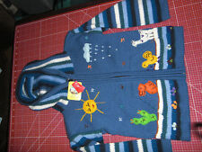 Strickjacke,Peru,104 / 110,Jungen,Kapuze,gestreift,blau,handgemacht,mit Taschen