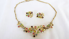 Vintage CORO Multicolored Rhinestone Leaf Spray Necklace & Earrings Set